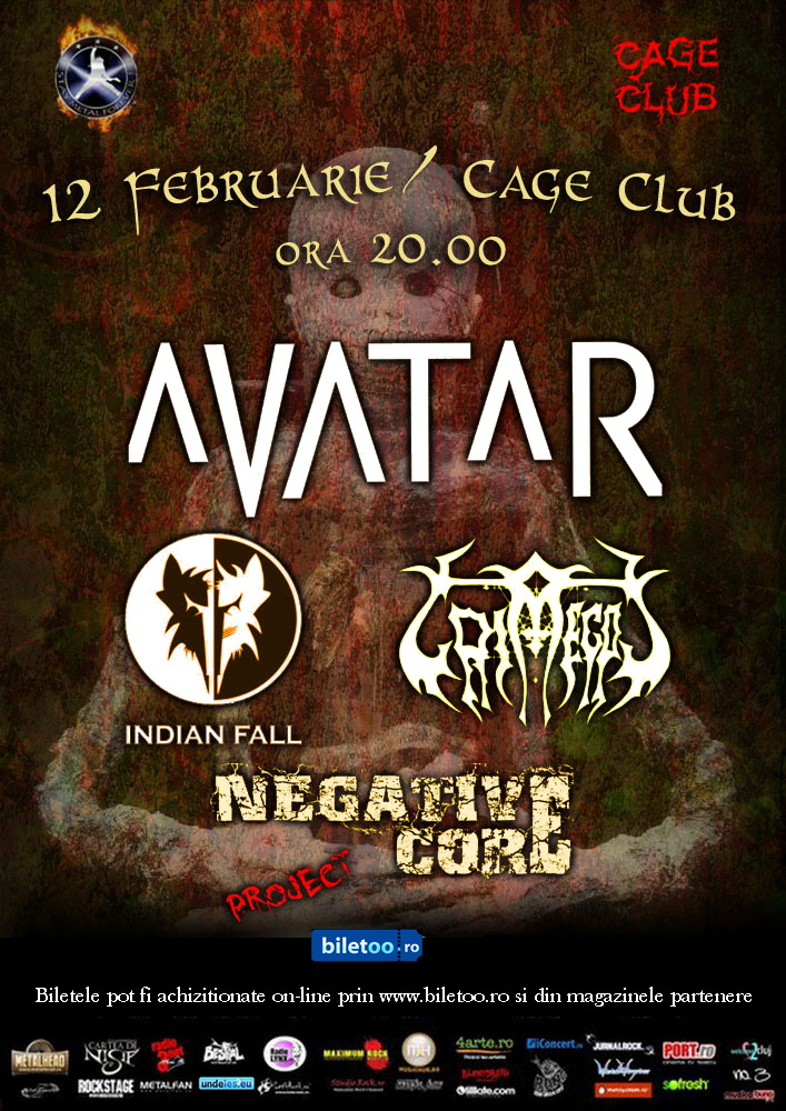 Avatar, Indian Fall, Grimegod si Negative Core in Cage Club 12-februarie